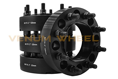 - 4 Pc 8x170 MM To 8x170 MM Black Hub Centric Wheel Spacers Adapters (Front + Rear) M14x1.5 Thread Works With 2003-2017 Ford F-250 F-350 Made In USA