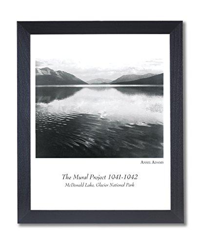 Print Framed Lake (Solid Wood Black Framed Ansel Adams Lake B/W Photo Landscape Pictures Art Print)