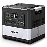 SUAOKI UPS Power Station, G1000 Portable Power Supply 1183Wh Silent Gas Free Generator LiFePO4 Battery Pack with 1000W (2000W Surge) AC Inverter, 60W Power Delivery USB C for Camping CPAP Power Outage