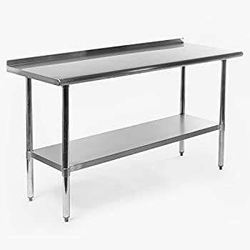 gridmann nsf stainless steel commercial kitchen prep work table w backsplash 60 in x 24 in. beautiful ideas. Home Design Ideas