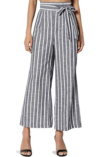 (TheMogan Women's Stripe Tie High Waist Woven Culottes Wide Leg Crop Pants Navy L)