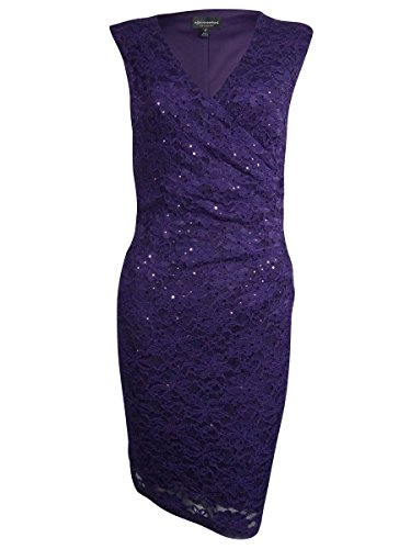 Connected Women's Surplice Sequined Lace Dress (8, Eggplant) (Surplice Sequined)