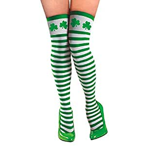 Amscan Lucky Irish Green St. Patrick's Day Striped Thigh-Highs Party Wearables (2 Piece), White/Green, One Size