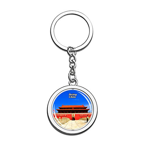 Tiananmen Square Beijing China Keychain 3D Crystal Spinning Round Stainless Steel Keychains Travel City Souvenir Key Chain Ring