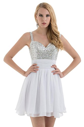 BRIDE GEORGE Buegel Bling kurzes Spaghetti Cocktail Weiß Bling Chiffon Kleid 6wqrwHnOd