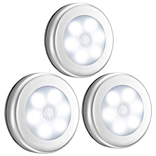 VicTsing 【3 Piezas】Sensor de movimiento ligero, sensor de movimiento con batería LED Night Light, Closet Light, Light...