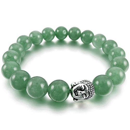 INBLUE Men,Women's 10mm Alloy Energy Bracelet Link Wrist Energy Stone Simulated Aventurine Green Silver Tone Buddha Mala Bead (Buddha Costume)