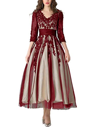 BEAUTBRIDE Womens Vintage ARDliques Evening Gowns 3/4 Sleeves A Line Semi-Formal Dresses Red 18W