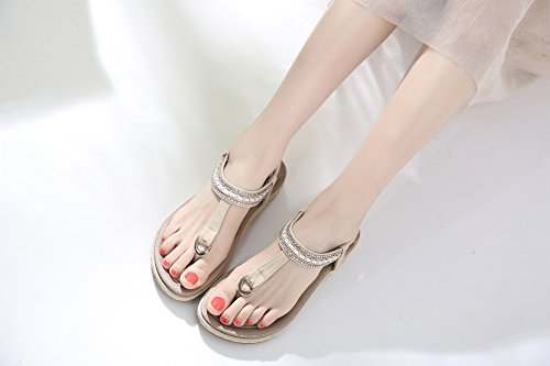 Confortables de de Abricot Sandales Pierre Chaussures des Fausse Bascules de Ruiren Bohème pour Plates Dames d'été XZ8SSv