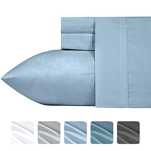 700 Thread Count Cotton Blend Full Size Sheet Sets (4 pc, Morning Blue) - Fits Mattress Upto 18