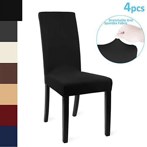 Chair Cover 4pcs Knit Spandex Protective Stretchable Fabric Dining Room Chair Slipcovers for Home, Hotel, Weddings, Banquets and Parties (Black)