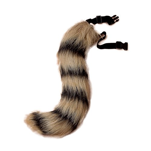 JUNBOON Faux Fur Fox Tail for Unisex Adult Children Cosplay Costume Halloween Party (Black Stripe) -