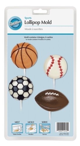 Wilton 2115-4432 Lollipop Mold Sports 4-Cavity/4 Designs