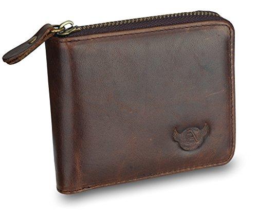 (Admetus Men's Genuine Leather Short Zip-around Bifold Wallet Exquisite box Christmas Gift Brown9)