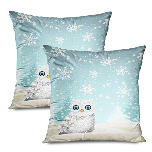 Ahawoso Set of 2 Throw Pillow Covers Square 18x18 Christmas Nature Theme Cute White Owl Outdoor Sitting Snowflakes Animals Wildlife Holidays Forrest Zippered Pillowcases Home Decor Cushion Cases (Snowflake Zippered Pillowcases)