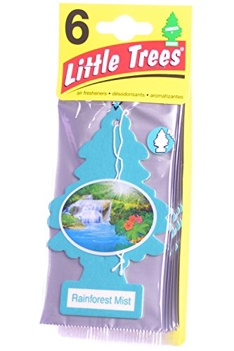 Little Trees Cardboard Hanging Car, Home & Office Air Freshener, Rainforest Mist (Pack of 6)