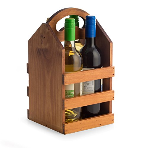 - Hipster Brown Solid Wood Wooden Four Bottle Wine Tote Holder Caddy Carrier