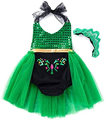 Baby Green Anna Princess Costume Bodysuit Tutu Coronation Party Dress