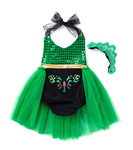 Cotrio Princess Anna Coronation Costume Dress Up Little Girls Romper Jumpsuit Bodysuit Halloween Party Dresses Outfits 6Months-3Years (3T, 2-3Yrs, 90, Green) -