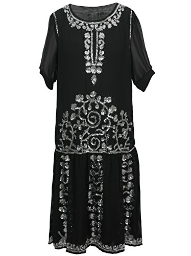 Vijiv Women's Black 1920s Vintage Charleston Chiffon Beaded Sequin Flapper Dress - 1920s Clothing Style