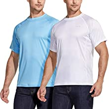 ATHLIO Men's Workout Running Shirts, Sun Protection Quick Dry Athletic Shirts, Short Sleeve Gym T-Shirts, Sun Protection 2pack(cts21) - White/Ocean, Medium