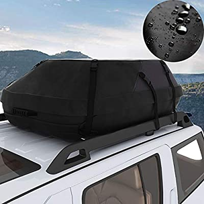 Miageek Waterproof Cross Country Car Roof Top Carrier Water Resistant Non Slip Soft Rooftop Travel Cargo Bag Storage for Any Car Van or SUV/with Straps