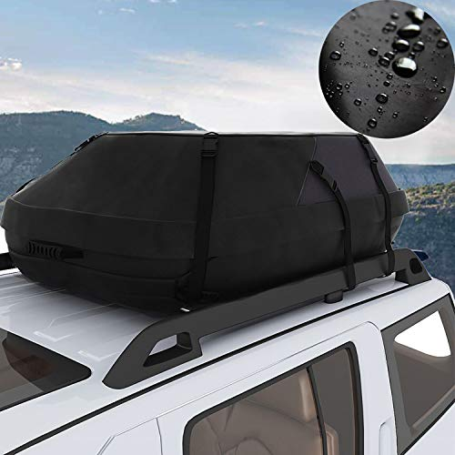 Miageek Waterproof Cross Country Car Roof Top Carrier Water Resistant Non Slip Soft Rooftop Travel Cargo Bag Storage for Any Car Van or SUV/with Straps ()