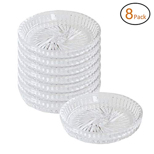 Crystal Clear Pinwheel - Crystal Clear Pinwheel Drink Coaster or Pillar Plates, Crystal, Clear - 4.3