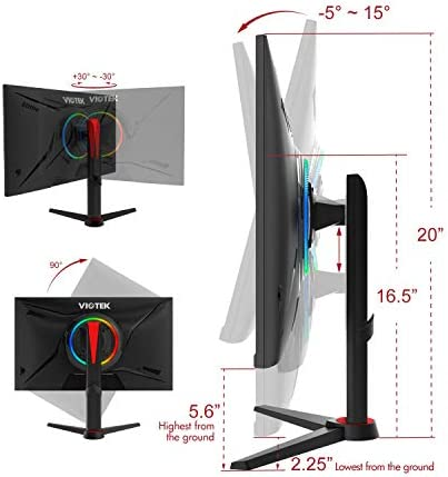 VIOTEK GFV27DAB 27-Inch Gaming Monitor | 144Hz 1440p 1ms | Color-Rich, HDR-Ready VA Panel, G-Sync-Compatible UnfastenedSync Monitor | HDMI DP 3.5mm | Full-Motion Stand | 3-Year Warranty (VESA),Black