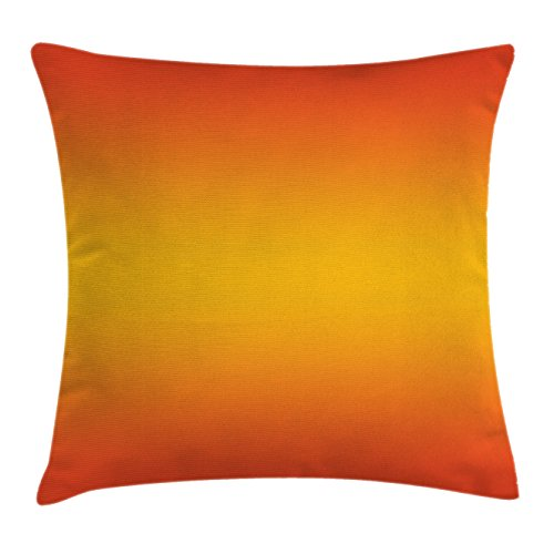 Ombre Throw Pillow Cushion Cover by Ambesonne, Tropical Sunset Inspired Summer Themed Design Artistic Modern Room Decorations, Decorative Square Accent Pillow Case, 18 X18 Inches, Orange Yellow (Inspired Living Rooms Tropical)