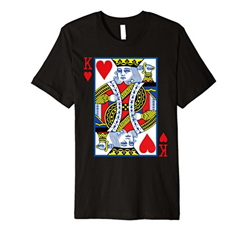 King Hearts Costume (Mens King of Hearts Costume Shirt Playing Card Poker T-Shirt Large Black)
