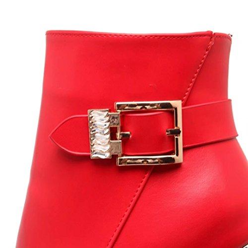 AIYOUMEI Damen Winter Stilettos Plateau Stiefeletten mit Schnalle und 12cm Absatz Kurzschaft Stiefel Rot