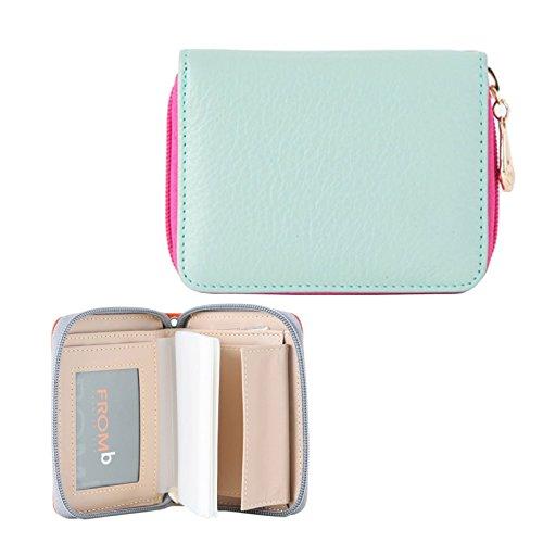 Womens Zip Around Genuine Leather Credit Card Case Organizer Compact Wallet Purse Sky Blue