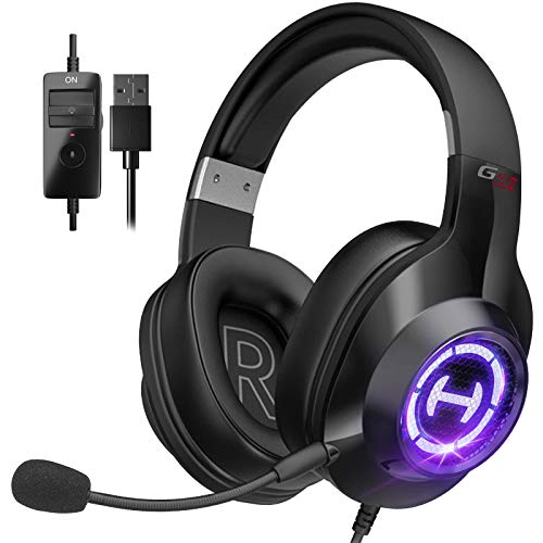 Gaming Headset, Surround Stereo Sound Wired Headphones with Microphone and Volume Control for PC Tablets Laptops Cellphones(Black)