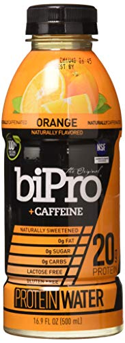 NEW! BiPro Protein Water +Caffeine, Orange, 16.9 Ounce (Pack of 12)