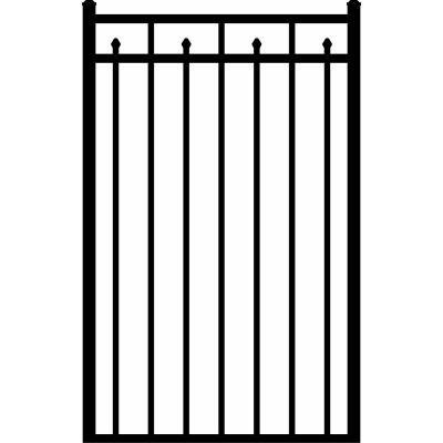Provincial 3 ft. x 4-1/2 ft. Black 3-Rail Aluminum Fence Walk Gate