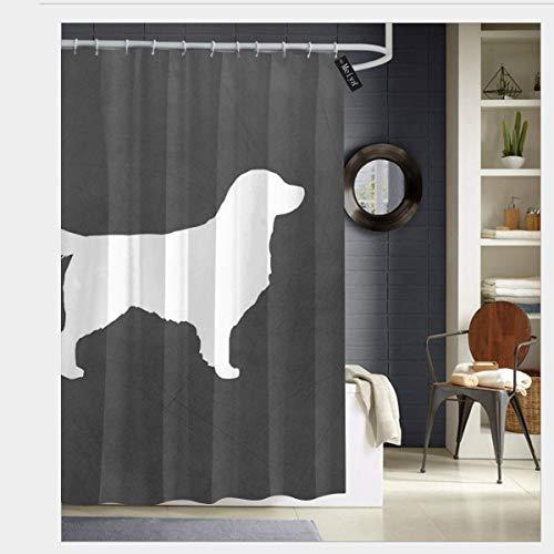 Golden Silhouette Retriever - Puloa White Golden Retriever Silhouette Shower Curtains with 12 Hooks Bathroom Curtain 72