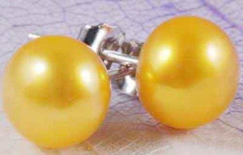 Gozebra(TM) Big 11-12mm Golden Akoya Pearl Jewelry Earrings Silver Stud AAA Grade
