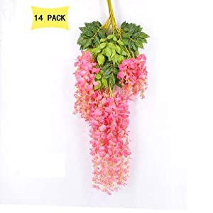 14 Pack 3.6 Feet/Piece Artificial Silk Wisteria Vine Ratta Hanging Flowers Party Wedding Decor 4