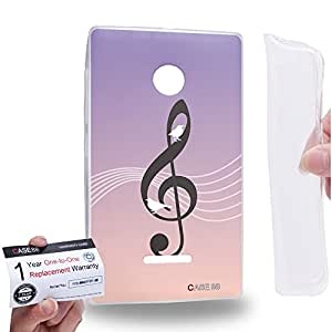 Case88 [Nokia Lumia 435] Gel TPU Carcasa/Funda & Tarjeta de garantía - Art Fashion Birds Of Music In The Sky Note Art1392