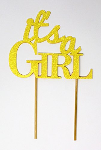 All About Details CATIAGIGPY Girl Cake Topper (Glitter Pastel Yellow), 6in wide and 5in tall with 2-pcs of 4in wood skewers by All About Details (Image #5)