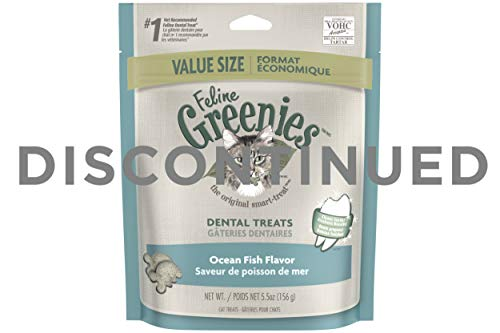 DISCONTINUED: FELINE GREENIES Dental Treats For Cats Ocean Fish Flavor 5.5 oz.