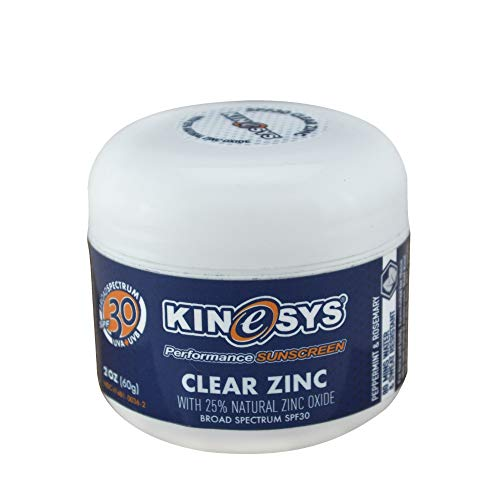 KINeSYS SPF 30 Clear Zinc with 25% Natural Zinc Oxide, Reef Safe, Preservative-free, Natural Sunscreen with Peppermint/Rosemary Scent, Face & Body, Travel size, 2oz