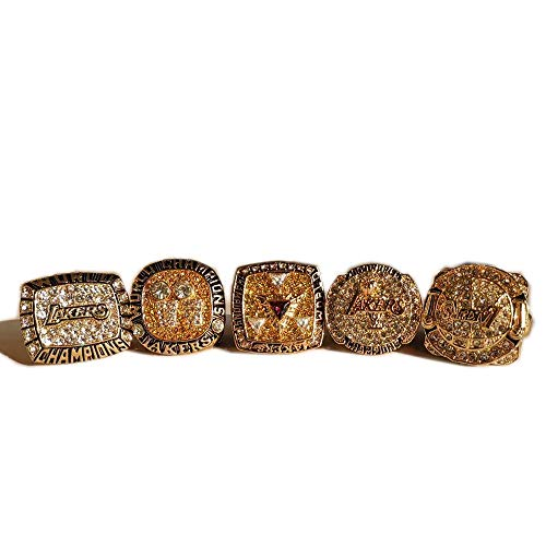 Gloral HIF 2000 2001 2002 2009 2010 Set of 5 Los Angeles Lakers Championship Ring Size 11 Gold Ring Without Box