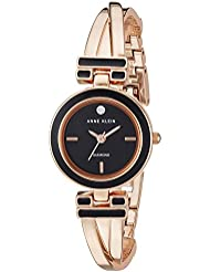 Anne Klein Womens AK/2622BKRG Diamond-Accented Black and Rose Gold-Tone Bangle Watch