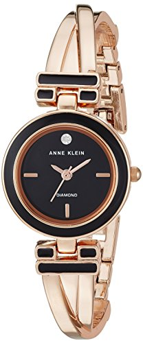 (Anne Klein Women's AK/2622BKRG Diamond-Accented Black and Rose Gold-Tone Bangle Watch)
