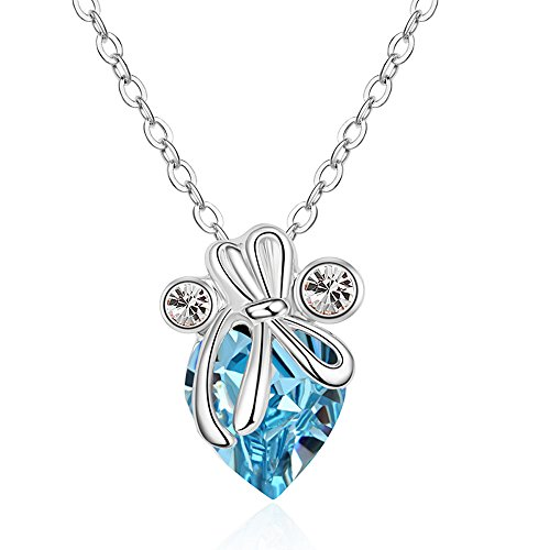 The Starry Night Cute and Lovely Austrian Crystal Silver Bowknot Sea Blue Heart Pendant Fashion Girls Necklace - Pikachu Costume For Teenage Girls