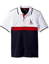Men's Short Sleeve Classic Fit Heavy Jersey Color Block Polo Shirt