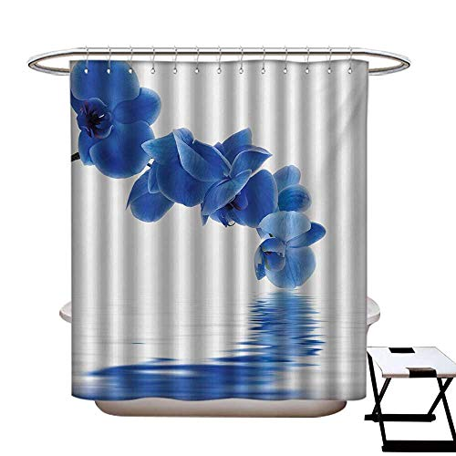 Blue Shower Curtains Fabric Orchid Corsage Composition with Reflection in Water Zen Desgin Bridal Garden Bathroom Decor Set with Hooks W48 x L84 Violet Blue White