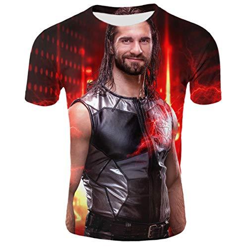 Seth-Rollins,Undertaker,Ultimate-Warrior,Macho-Man-Randy-Savage 3D Print Short Sleeve T-Shirt Casual Tee Unisex Adult -